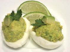 Deviled eggs w/ avocado... I might have to make these for Easter! :)