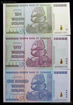 Zimbabwe Trillion Dollar Bills