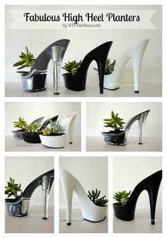 FABULOUS DIY HIGH HEEL PLANTERS Part Deux | http://diyfunideas.com/fabulous-high-heel-planters-part-deux/