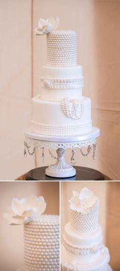 beautiful white pearl wedding cake