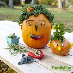 Veggie Heads: Create a colorful clan by securing surplus garden produce onto pumpkins with toothpicks. If the pumpkin's rind is too tough for toothpicks to pierce, drill holes for them with a metal skewer.