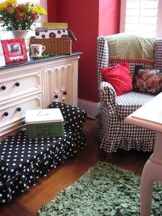Adorable black and white polka dot bench from Dear Daisy's cottage style office