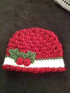 Crochet baby girl hat baby girl beanie Christmas by SevenSkeins. , via Etsy.