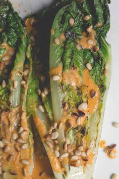Grilled Romaine with Roasted Red Pepper Dressing
