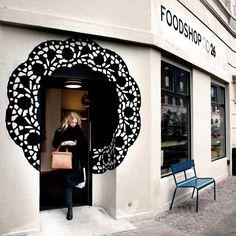 Foodshop no. 26 #store #shop #front #window #doily #mosaic