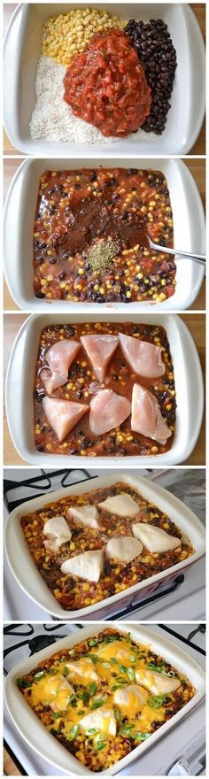 Salsa chicken bake--- i do this in crockpot all day on low and makes wonderful tacos at night..