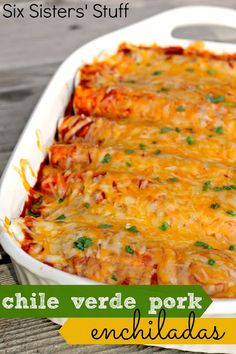 Chile Verde Pork Enchiladas on SixSistersStuff.com - cook the pork in the crock pot for an easy dinner to throw together!