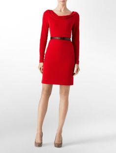 Cowlneck belted sheath dress - Calvin Klein. $39.99