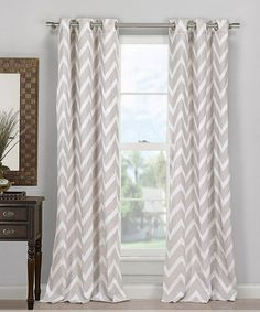 Obsessed with the chevron pattern. Gray Behrakis Chevron Curtain - LOVE!!