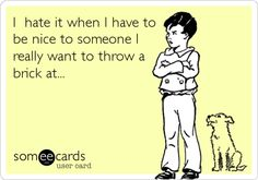 I hate it when I have to be nice to someone I really want to throw a brick at...