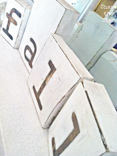 decor, craft, fall mantels, letter, stars, wood blocks, block sign, diy, rustic wood