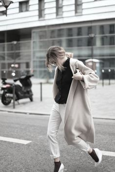 white shoes, wedge shoes, clean shoe, coat