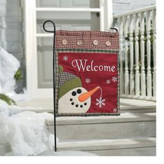 Snowman Welcome Mini Flag - TerrysVillage.com
