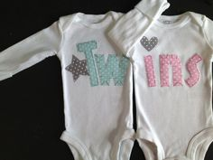Boy Girl Twins onesies Light Blue and Pink