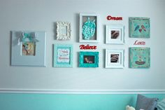 Whimsical gallery wall in the nursery