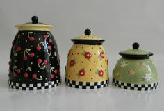 Mary Engelbreit Canister Set 2000 -- Fried Egg Flowers, Cherries & Checkers | eBay