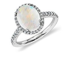 Opal and Diamond Ring in 18k White Gold (10x8mm) #BlueNile