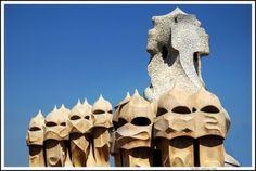 Chimney pots on Antonio Gaudi's Casa Mila look like sentinels protecting the building.