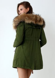Detachable Fur Hood Military Parka Coat