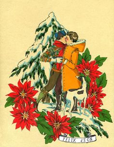 Poinsettia Kisses, Male Nude Figure Drawing Fine Art gay christmas card