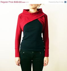 Summer Sale Womens Dark Red Cotton Jersey Long Sleeve Shrug Bolero with Boat Neck - available in more colors. €33,15, via Etsy.