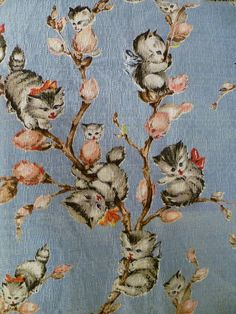 Pussy Willow Novelty Barkcloth Fabric | Flickr - Photo Sharing!