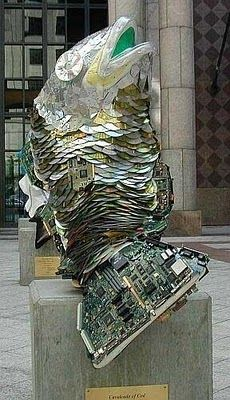 recycling computers and their accessories: modernist sculpture: a goldfish!