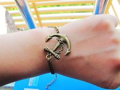 Adjustable Vintage Anchor  Bracelet  with Chian by sevenvsxiao, $6.50