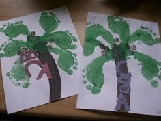 Footprint trees!  Cute to go with the book Chicka Chicka Boom Boom. slbouchard  http://media-cache9.pinterest.com/upload/1055599882774285_w1U5rRJ8_f.jpg