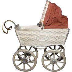 Sweet Little German Tin Baby Carriage
