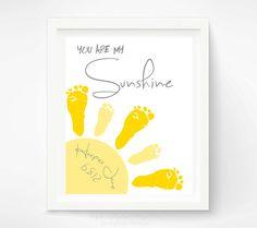 Baby Footprint Art - You Are My Sunshine Art Print