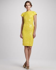 Taryn Beaded Fitted Dress by Alice + Olivia at Neiman Marcus.