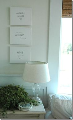 Simple and beautiful DIY!  Bible verses stamped on white canvas.