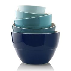 5-Piece Bowl Set in Tonal Blues, $40  http://www.crateandbarrel.com/5-piece-5.75-10.5-market-bowl-set/f50219