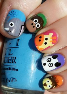 Adventures In Acetone: Tutorial Tuesday: Elephant Nail Art! - that giraffe is soo cute!!