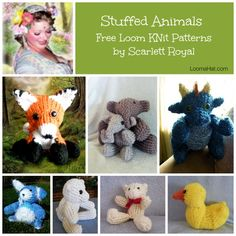 Loom Knit Stuff Animals on Round Looms. FREE patterns and video tutorial links. round loom knitting patterns, free stuffed animal patterns, round loom patterns