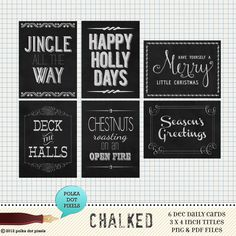 chalked christmas chalkboard word art project life journaling cards - digital scrapbooking. $4.00, via Etsy.