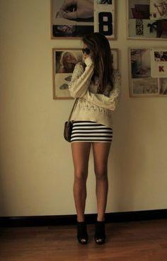 short tight skirts leg, knit sweaters, dress, outfit, summer skirts, mini skirts, pencil skirts, oversized sweaters, stripe