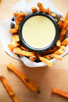 Baked Sweet Potato Fries with a Maple Mustard Dipping Sauce from What The Fork Food Blog - will replace may with yogurt