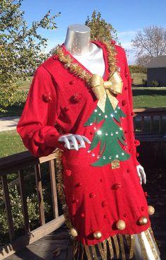 Fringe Christmas Tree Ugly tacky sweater dress