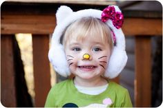 Simple Hello Kitty make-up and costume. #costume #kids