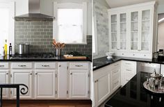 white cabinets, gray backsplash