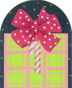 Melissa Shirley Designs | Hand Painted Needlepoint | Pink Plaid Gift Box