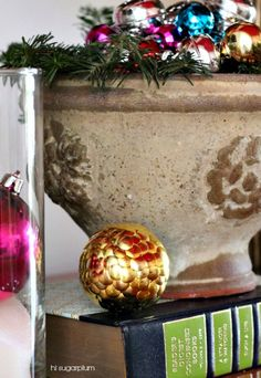 Hi Sugarplum | Simple DIY Decorative Ball Styrofoam ball studded with thumbtacks