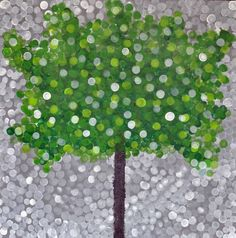 """Summer in Greenland"": 5th grade collaborative art project. Jumbo pointillism in acrylic on canvas."