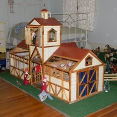 Using scrap materials, this DIY Dad built his horse-loving daughter a stable, complete with big stalls, a hay loft tower with a rope pulley, a tack room, working doors, all topped with a weathervane. See more at | thisoldhouse.com/yourTOH