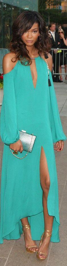 Chanel Iman amaz color, fashion, style, colors, dresses, color turquois, chanel iman, teal, beauti color