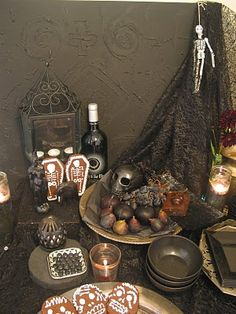 Day of the Dead party altar, cookies, figs, plums, grapes & lovely ...