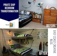 East Coast Creative: Pirate Themed Bedroom Transformation.  DIY instructions for the floating beds, the planed walls and the painted treasure map are also included!