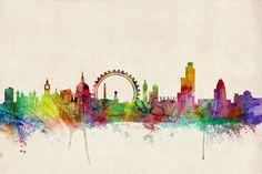 London Skyline Panoramic Digital Art